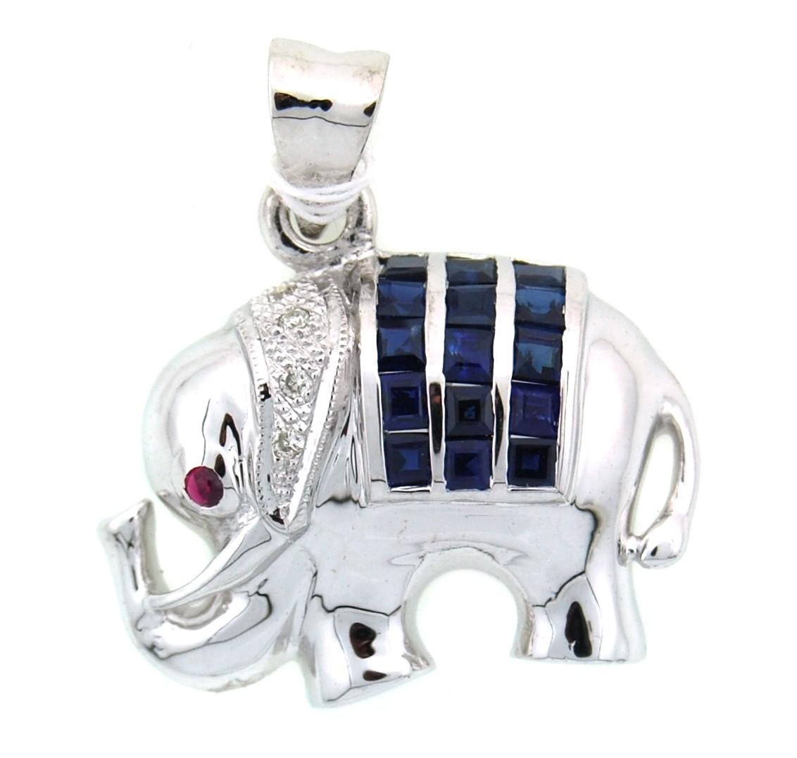 18k white gold elephant pendant diamond blue sapphire p0012 aloadofball Images